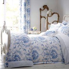 Dorma Toile Blue Bed Linen Collection | Dunelm