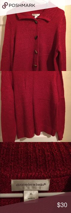 Christopher and Banks Red Sweater Beautiful red, flawless sweater. Worn once for Christmas day at school-now, my career has changed! Christopher and Banks button down sweater with what resembles shark tooth buttons. XL made in China. Christopher & Banks Sweaters Crew & Scoop Necks