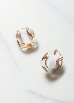 Lucite Earrings with Gold Inclusion in Gold / Hoop Earrings / Lucite Jewelry Silver Pendant Necklace, Silver Hoop Earrings, Diamond Earrings, Silver Jewelry, Stud Earrings, Onyx Necklace, Gold Jewellery, Silver Ring, Modern Jewelry