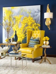 Interior, Monochrome Yellow Painting In The Interior With Navy Blue Painted Wall And Yellow Wing Chair And Wooden Table And White Furry Area Rug ~ Great Contrast Accent in the Interior for Cheerful Outlook