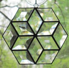 $16 Stained Glass Suncatcher, Beveled Hexagon Star