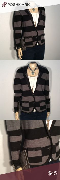 Halogen black gray stripe cardigan Halogen black gray stripe cardigan excellent condition no damage fabric 50% merino 50% acrylic very soft and sophisticated design women's size med petite Halogen Sweaters Cardigans