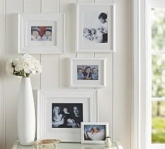 White Gilt Photo Frame Gallery in a Box, Set of 5 At Pottery Barn - Decor & Pillows - Frames White Picture Frames, Picture Wall, White Frames, Pottery Barn Christmas, Family Room Walls, Gallery Frames, Gallery Walls, Room Accessories, Beautiful Wall