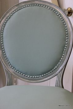 Maison Decor: Tiffany Blue French Chair- used Annie Sloan chalk paint over the entire chair!.