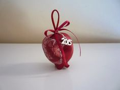 2015 charm - dark red ceramic decoupaged pomegranate
