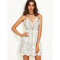 SheIn(sheinside) Beige Spaghetti Strap Appliques Double Layer Dress (£21) ❤ liked on Polyvore featuring dresses, beige, white sleeve dress, short slip, slip dress, white beach dresses and beige short dress
