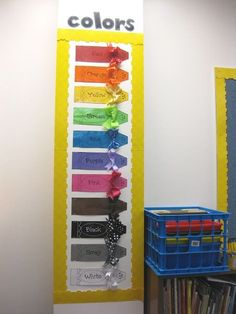 Miss Kindergarten: Classroom Setup.AWESOME weather chart at end AND neat first day photo/Miss Bindergarten project Classroom Displays, Classroom Themes, Classroom Activities, Classroom Organization, Preschool Classroom Setup, Future Classroom, Toddler Classroom Decorations, Birthday Chart Classroom, Color Activities