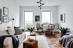 Neutral living room with lots of texture Scandinavian Interior Design, Beautiful Interior Design, Scandinavian Style, Modern Contemporary Homes, Contemporary Interior Design, One Room Apartment, Studio Apartment Design, Living Comedor, Living Spaces
