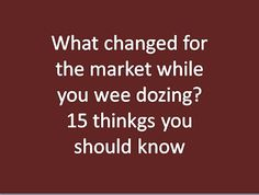 #GRSSolution | Investment Services: What changed for the market while you were dozing?...
