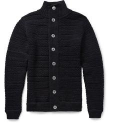 S.N.S. Herning Bubble-Knit Wool Cardigan | mens sweater | wantering | menswear | mens fashion | mens style | mens cardigan | black