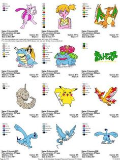 POKEMON CHARACTER EMBROIDERY MACHINE DESIGNS SET OF 140 | Cartoon Characters…