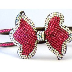 Bling Bling! Bow Headband with Red & Ab Rhinestones. Perfect for Women, Teens & Girls, Bling Bling Hair Accessory