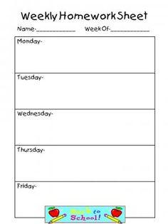 Weekly Homework Sheet on Pinterest | Homework Sheet, Spelling Centers ...