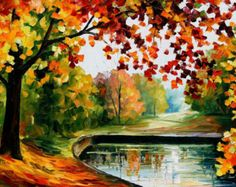 """Best Office Wall Art Fall Oil Painting By Leonid Afremov - Far Hills. Size: 36"""" X 24"""" Inches (90 cm x 60 cm)"""