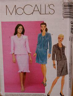 """Jacket & Dress Suit - 2000's - McCall's Pattern 3162  Uncut  Sizes 12-14-16  Bust 34-36-38"""""""