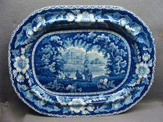 "16 3/4"" Dark Blue Staffordshire Transferware Platter"