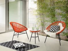 Outdoor Bistro Set - Patio Set - Table and 2 Chairs - Orange - ACAPULCO