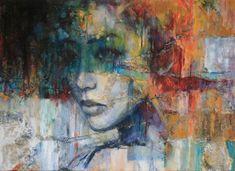 Een grote verzameling kunstwerken van Evelyn Hamilton waaronder kunstwerk Yin. Er is een ruige ondergrond van gesso, jute en stukken karton gecreëerd. Dit zorgt voor een prachtig effect samen met deze kleurrijke aziatische beauty.Ook het contrast tussen de coole grijstinten en intense kleuren maken dit werk zo bijzonder.Het is een 3d doek. De zijkanten zijn meegeschilderd.