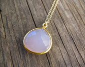 Rose Chalcedony Necklace - Long gold necklace. $65 Style Number 50123S