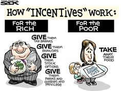 "George Carlin made this point quite well: ""Conservatives say if you don't give the rich more money, they will lose their incentive to invest. As for the poor, they tell us they've lost all incentive because we've given them too much money. Troll, Satire Humor, Stock Options, Think Food, Family Values, We Are The World, Political Cartoons, Political Satire, Political Images"