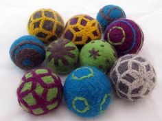 Felt Dryer Balls replaces dryer sheets - I, Jennifer, have made these, use them, & will never ever in my life purchase or use another dryer sheet. EVER.  They're a static reducer, a drying time reducer, a fabric softener, & if you add a few drops of essential oils to your dryer balls, they scent your clothes.  I AM IN LOVE!  These are fancy ones.  That's an option if you want them all cute, but mine are very simple.