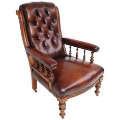 ~ 19th c. Leather Library Chair ~ 1stdibs.com
