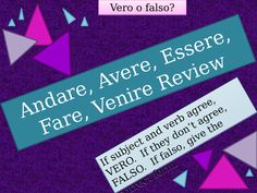 Andare Avere Essere Fare Venire Italian Verbs Review Game Venus, Vrai Faux, Italian Verbs, Presentation, French Resources, Review Games, Booklet, I Am Awesome, Author