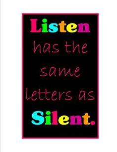 FREEBIE: Cool sign to remind students that they should be silent when they should be listening!