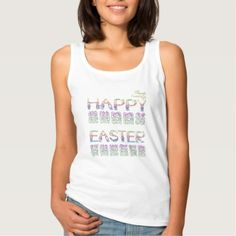 #funny - #Happy Easter in rabbit letters Tank Top