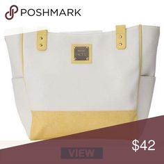 Miche Demi breeze White textured faux leather with pale yellow piping and trim, silver ... Miche Bags Shoulder Bags
