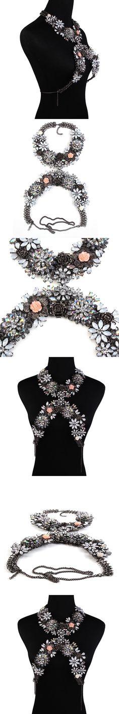 Newest Luxury Crystal Jewelry Belly Chains Flower Necklaces Women Summer Beach Maxi Waist Bikini Beach Colar Femme Accessories