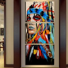 Abstract oil painting Indian Woman Canvas Print Picture Home Wall Art Decor GiftAbstract Canvas Wall Art Print Feather Painting, Oil Painting Abstract, Abstract Canvas, Painting Prints, Art Prints, Painting Canvas, Spray Painting, Woman Painting, Canvas Prints