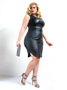 """Karolina"" Coated Sheath Dress -Black"