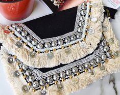Black Canvas Clutch Bag, Boho Clutch Bag, Beaded Statement Clutch Bag, Tassel & Coin Clutch Bag, Handmade Bag, Bead Tassel Coin Clutch Bag