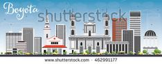 Bogota Skyline with Gray Buildings and Blue Sky. Vector Illustration. Business Travel and Tourism Concept with Historic Buildings. Image for Presentation Banner Placard and Web Site.