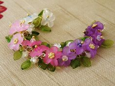 """""""My Mother's Iris Garden"""" Bracelet of Vintage Lucite Flowers, and Swarovski Crystals by K for 'Trifles & Whimsy', on Etsy"""