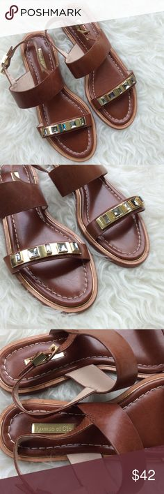 Louise et Cie Blithe Double Strap Sandals New without box Louise et Cie brown leather Blithe sandals. Double straps with adjustable ankle strap. Gold bar across toe with grey rhinestones. Size 8.5. No trades, offers welcome. Louise et Cie  Shoes Sandals