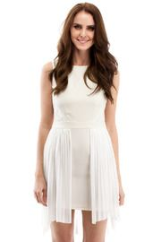 White Pleated Cocktail Dress