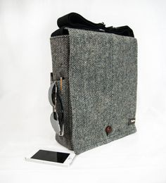 ORIGINAL SIZE Black Tweed Wool Recycled Vintage Suit Jacket Messenger Bag on Etsy, $150.00