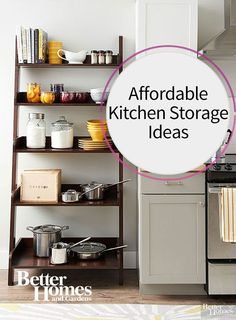 It shouldn't cost an arm and a leg to get your kitchen in tip top organized shape. Use dollar store finds, IKEA furniture and a few DIY ideas to install more storage and shelving and keep everything in its place. Our ideas include using freestanding shelves, hanging baskets to place produce, and installing corkboards on the inside of your cabinet drawers to keep bills and other important memos in their place.