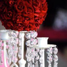 Red rose candelabra centerpiece