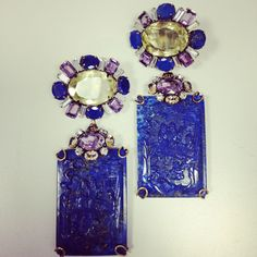 Iradj Moini citrine and lapis lazuli earrings with carvings that replicate an ancient Chinese painting
