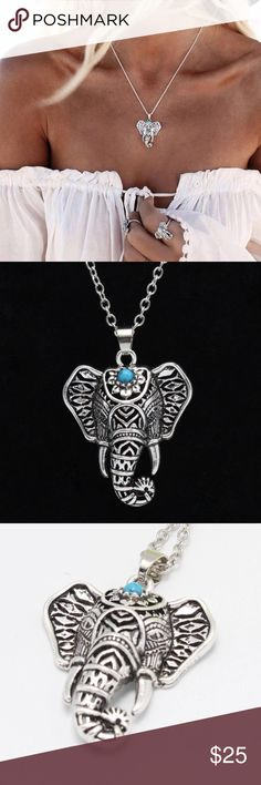 """15% OFF 2+▪️ elephant necklace silver turquoise 16-18""""  Antique silver zinc alloy WILA Jewelry Necklaces"""