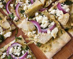Spinach artichoke flat bread pizza.. yum