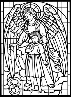 Church coloring pages include church buildings, stained glass windows, and church music. Some easy coloring pages for kids and some harder ones for the adults. Print them all for free. Church Coloring Pages Angel Coloring Pages, Coloring Pages For Grown Ups, Easy Coloring Pages, Free Printable Coloring Pages, Coloring Sheets, Coloring Books, Stained Glass Angel, Stained Glass Christmas, Dover Publications