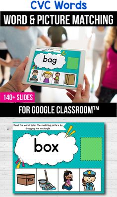 Looking for ideas for the google classroom for your kindergarten, first grade or special education kids? These activities are perfect for teachers to use in the classroom or for parents to use for homeschool. These CVC word activities for beginners replace old and outdated worksheets. You can use them while distance learning to make learning CVC words with pictures, short a, short e, short i, short o or short u easier. #googleclassroom #cvcwords #digitallearning #distancelearning