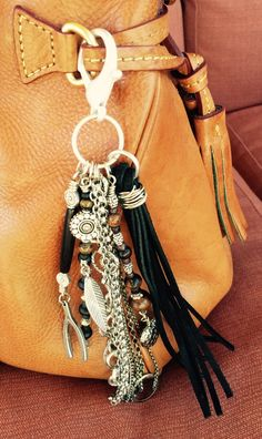 Purse Charm, Charm Tassel, Zipper Pull, Key Chain - Silver, Suede, Black and Brown Beads - Wishbone, Feather, Heart #ThePaintedCabeza