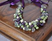 Bridesmaids gifts Purple Bridemaid Gift Pearl Necklace Beach Weddings