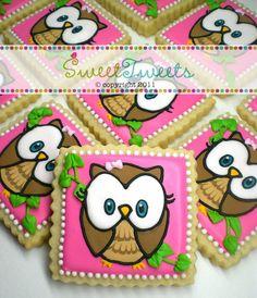 SweetTweets - Look Whoo's One Birthday Girl Owl Cookies - 1 dozen. $36.00, via Etsy.
