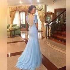 in a custom periwinkle filipiñiana for 💖 Modern Filipiniana Dress, Filipiniana Wedding, Bridal Gowns, Wedding Gowns, Filipino Fashion, Mob Dresses, Beautiful Asian Women, Classy Dress, Traditional Dresses